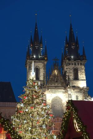Christmas Tree and Tyn Gothic Church