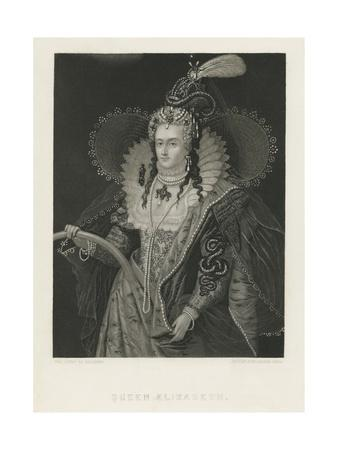 Lithograph of Queen Elizabeth