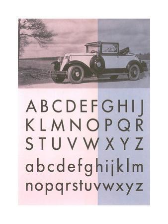 Vintage Car with Alphabet
