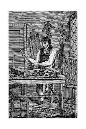 Illustration of a Cabinetmaker from Edward Hazen's Book of Trades