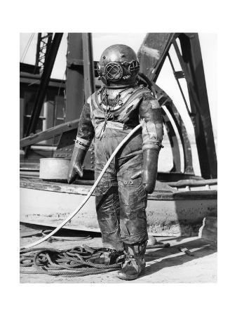 1930s-1940s Full Figure of Man in Underwater Diving Suit