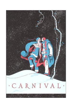 Carnival Clowns in Snow at Night