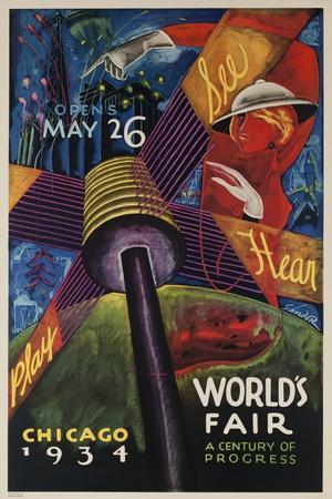 See, Hear, Play, Chicago 1934 World's Fair Poster