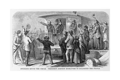 Andrew Johnson Speaking from a Train
