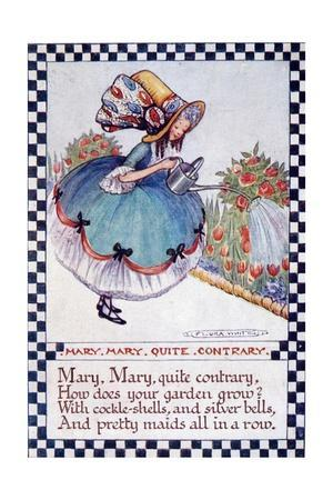 "Illustration of ""Mary Mary Quite Contrary"" Nursery Rhyme"