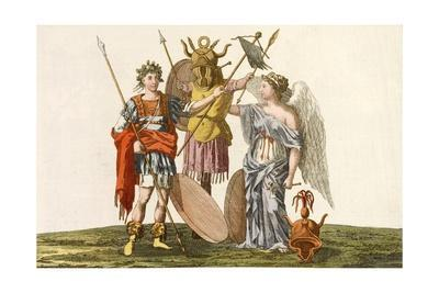 Print of Emperor, Trophy and Winged Victory
