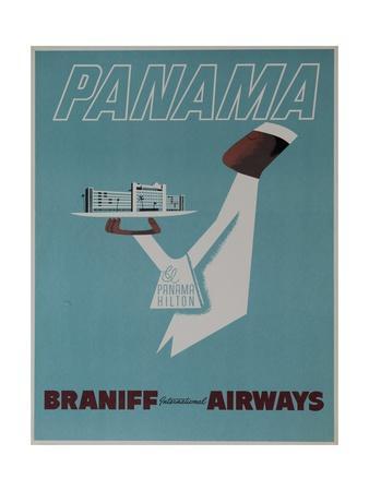 Braniff Airways Travel Poster Panama