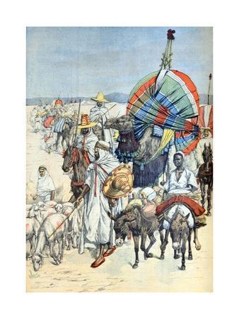 Camel Caravan Crossing Sahara Desert Tuat Algeria (March 1903)