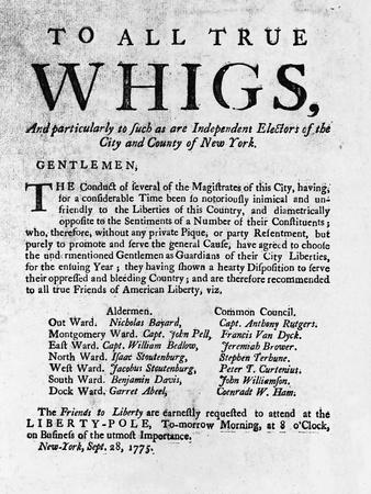 Revolutionary War Broadside Addressed to Whigs