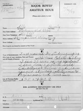 Application Form of Beverly Sills