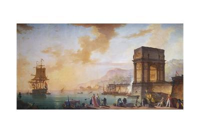 Painting of Morning, a Capriccio of the Embarking of a Ship from Marseille