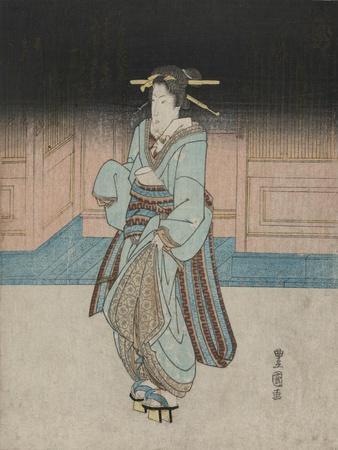 A Geisha on an Evening Stroll in Fukagawa
