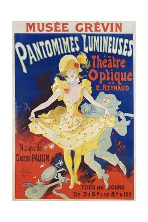 French Poster for Early Motion Picture Pantommes Lumineuses