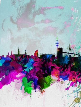 Hamburg Watercolor Skyline
