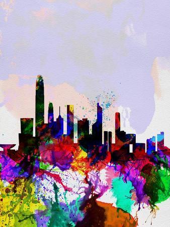 Hong Kong Watercolor Skyline