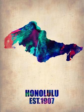 Honolulu Watercolor Map