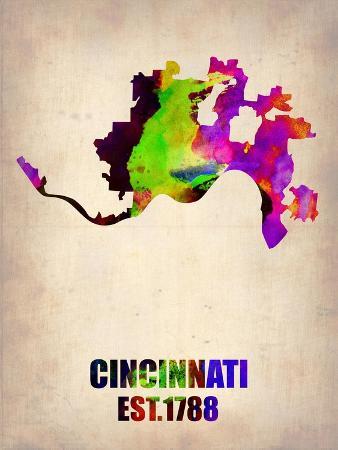Cincinnati Watercolor Map