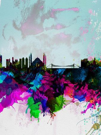 Istanbul Watercolor Skyline