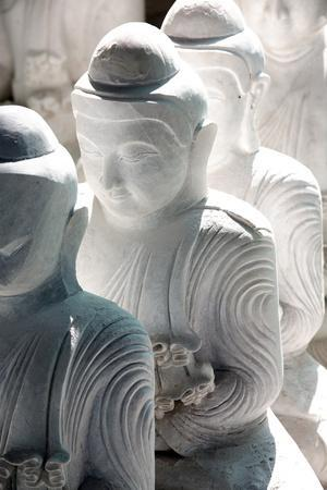 Marble Buddha Images Waiting to Be Finished at a Stone Carver's in Amarapura