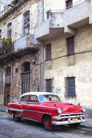 Red Vintage American Car Parked on a Street in Havana Centro
