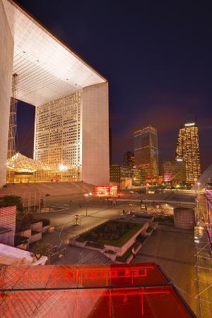 High Rise Office Buildings and La Grande Arche in the La Defense Area at Night