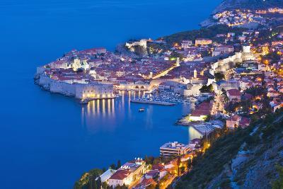 Dubrovnik Old Town at Night, Taken from Zarkovica Hill, Dalmatian Coast, Adriatic, Croatia, Europe