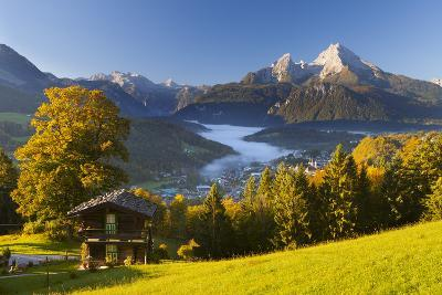 Overview of Berchtesgaden in Autumn with the Watzmann Mountain in the Background