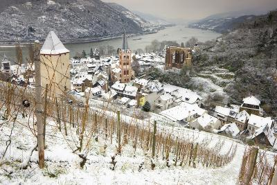 Overview of Bacharach and the Rhine River in Winter