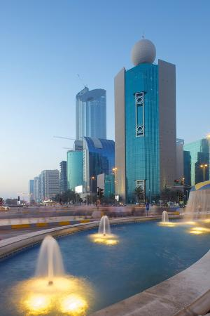 City Skyline on Rashid Bin Saeed Al Maktoum Street at Dusk