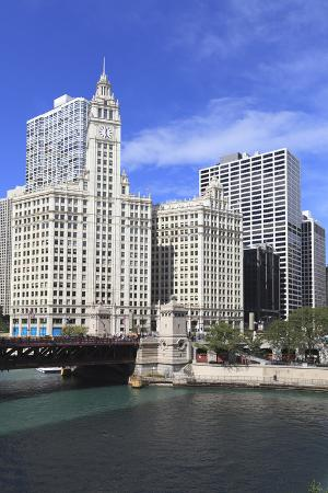 The Wrigley Building and Chicago River, Chicago, Illinois, United States of America, North America