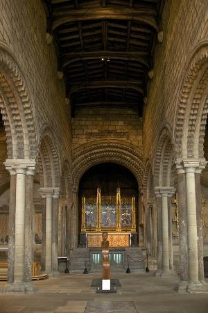 Interior of the 12th Century Norman Romanesque Galilee Chapel
