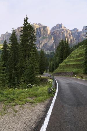 Mountain Road and the Sassolungo Mountains in the Dolomites Near Canazei