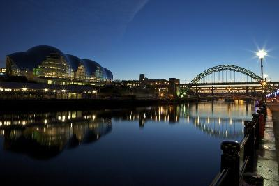Gateshead Quays with Sage Gateshead and Tyne Bridge at Night