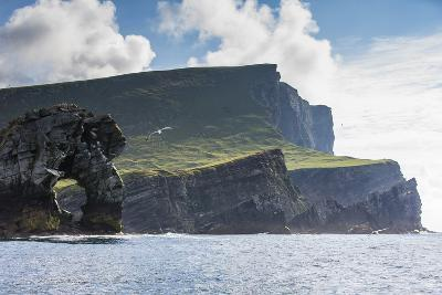Rock Formation known as Gada's Stack on Foula Island, Shetlands, Scotland, United Kingdom, Europe