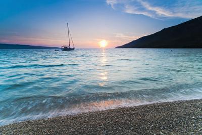 Adriatic Sea Off Zlatni Rat Beach at Sunset, Bol, Brac Island, Dalmatian Coast, Croatia, Europe