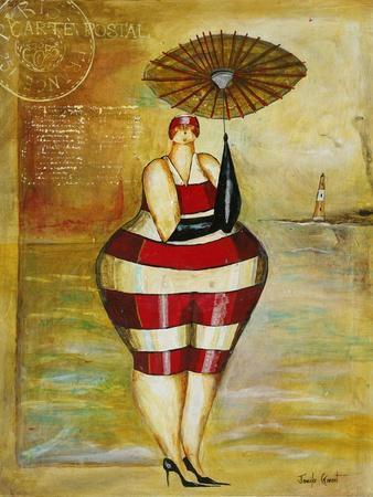 Vintage Beach Girl Red Stripes