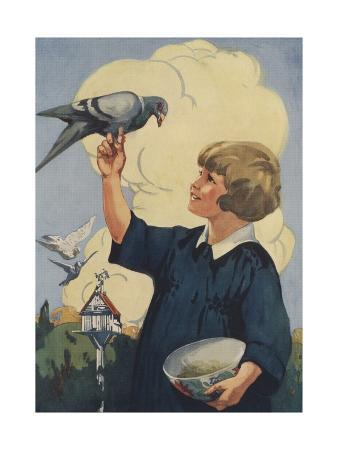 Illustration of Girl with Pigeon