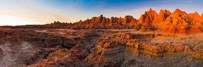 Rock Formations on a Landscape at Sunrise, Door Trail, Badlands National Park, South Dakota, USA