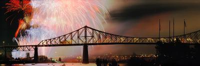 Fireworks over the Jacques Cartier Bridge at Night, Montreal, Quebec, Canada
