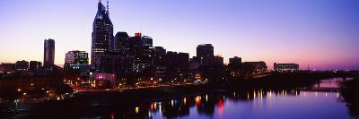 Skylines at Dusk Along Cumberland River, Nashville, Tennessee, USA 2013