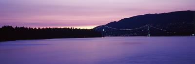 Lions Gate Bridge at Dusk, Vancouver, British Columbia, Canada