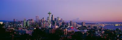 High Angle View of a City at Sunrise, Seattle, Mt Rainier, King County, Washington State, USA 2013