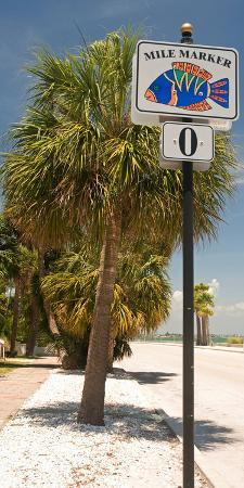 Mile Marker Zero at Pass-A-Grille, St. Pete Beach, Tampa Bay Area, Tampa Bay, Florida, USA
