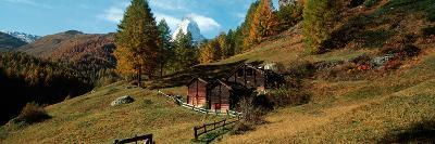 Huts with the Mt Matterhorn in Background in Autumn Morning Light, Valais Canton, Switzerland
