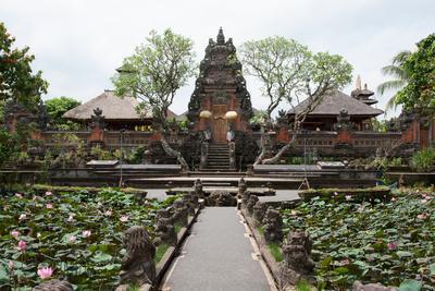 Facade of the Pura Taman Saraswati Temple, Ubud, Bali, Indonesia