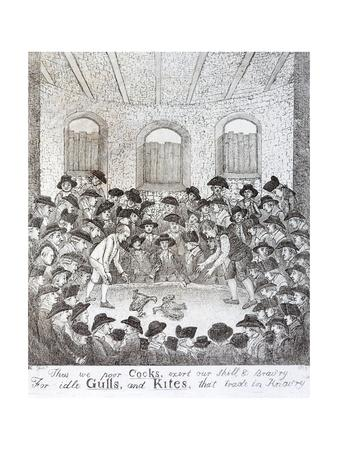 Cock Fighting - a Late 18th Century Engraving
