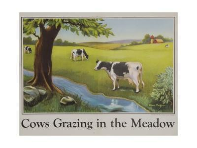 Cows Grazing in the Meadow Poster