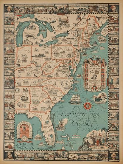 A Map of Eastern United States, Travel Map Poster