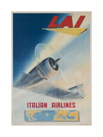 Lai Italian Airlines Travel Poster