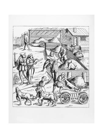 Illustration of the Extraction and Transport of Metals after a 16th-Century Woodcut